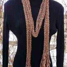 scarf hand knit brown beaded 14.32