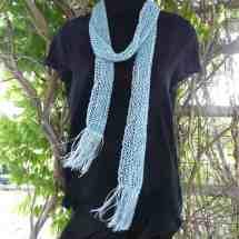 scarf handknit blue beaded 15.79