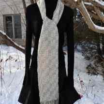 scarf doubleweave cream tan 16.192
