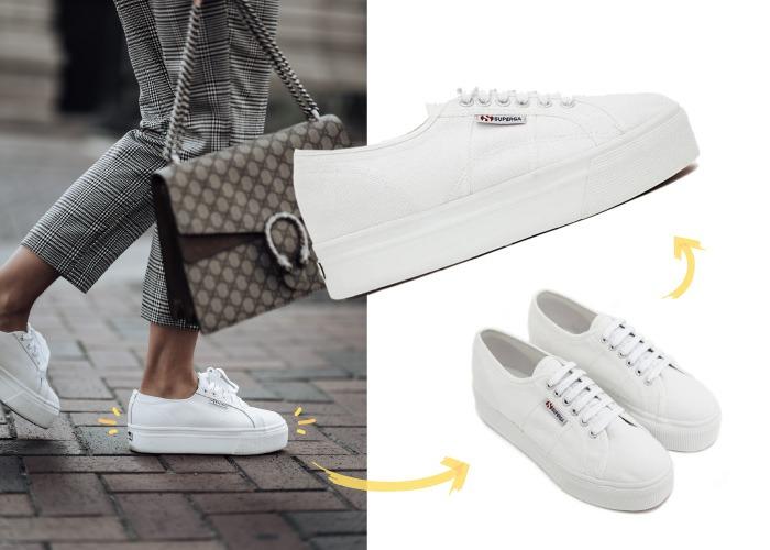 look pantalon de cuadros con sneakers plataforma superga blanco