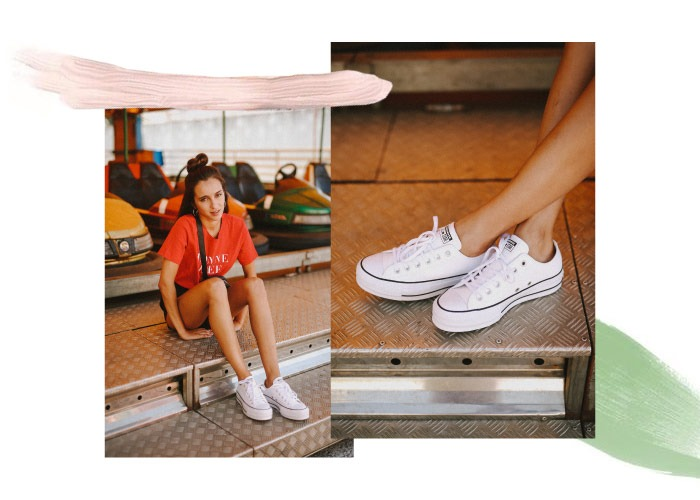 converse chuck taylor all star lift clean mujer plataforma blancas con shorts