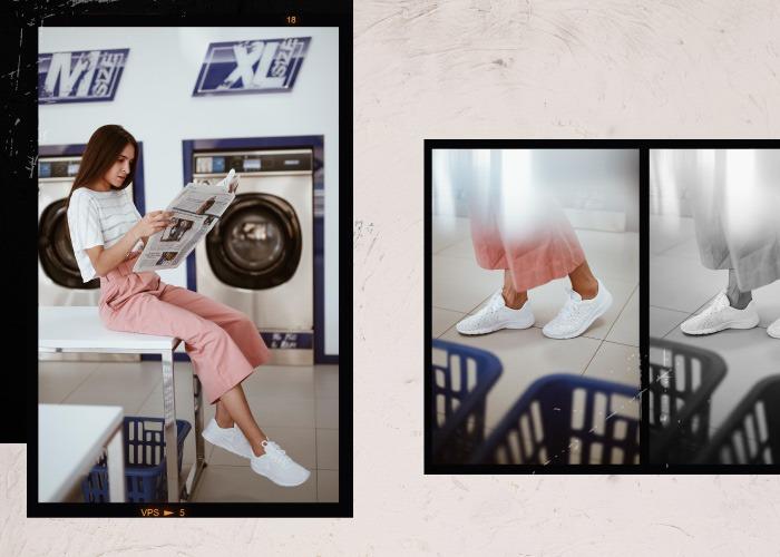 deportivas mujer nike tanjun blancas con pantalon culotte rosa
