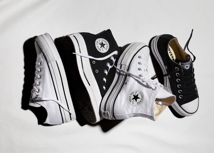 converse plataforma grises mujer