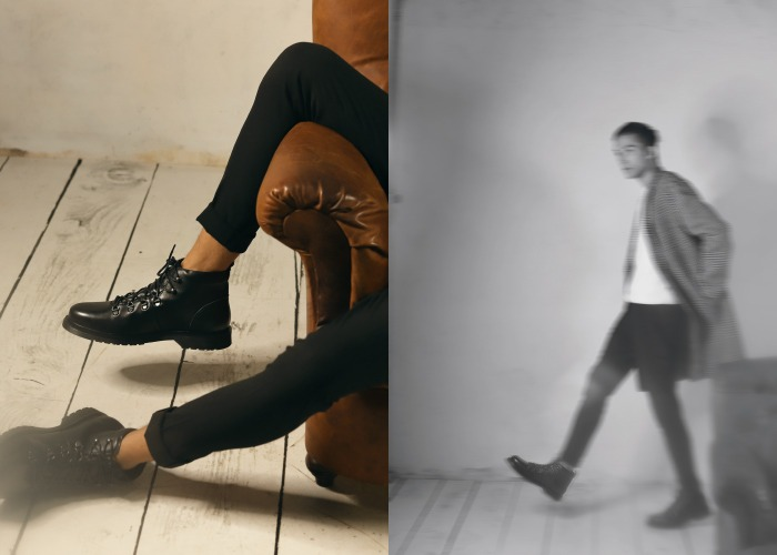 botas negras de cordones para hombre en krackonline
