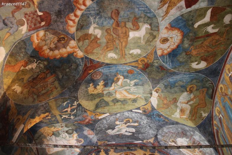 Сотворение мира. Сотворение Евы. Фреска в галерее церкви Ильи Пророка г.Ярославль