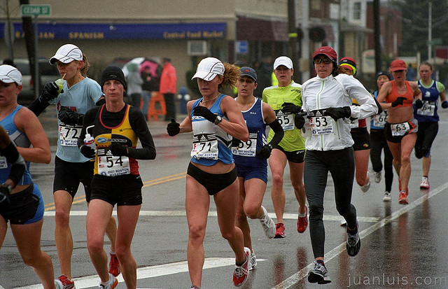 A pack of women running a race.