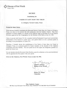 Decree of Erection for St. Mary the Virgin