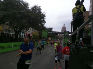 Looking back to the finish line, 2015 Austin Marathon
