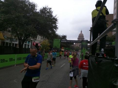 Looking back to the finish line, 2015 Austin Marathon