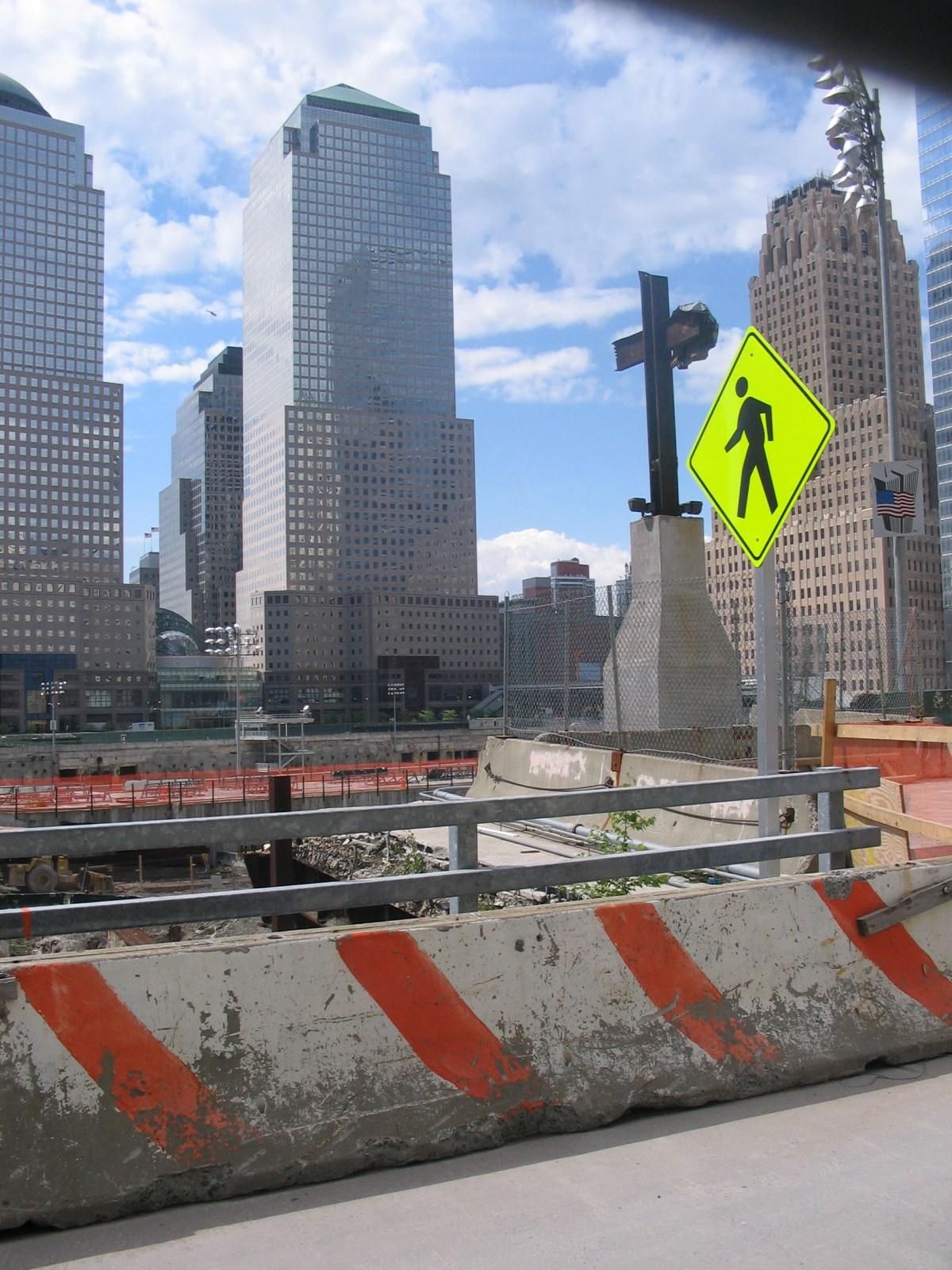 """Picture of the World Trade Center site from 2006, specifically the """"Ground Zero Cross"""""""