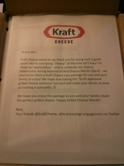 Letter from Kraft Cheese