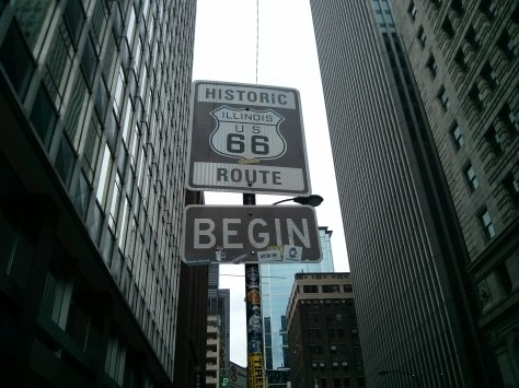 Street sign marking the beginning of historical Route 66.