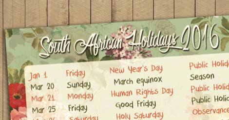 South African Holidays 2016