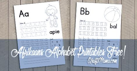 Afrikaans Alfabet A en B werkskaarte