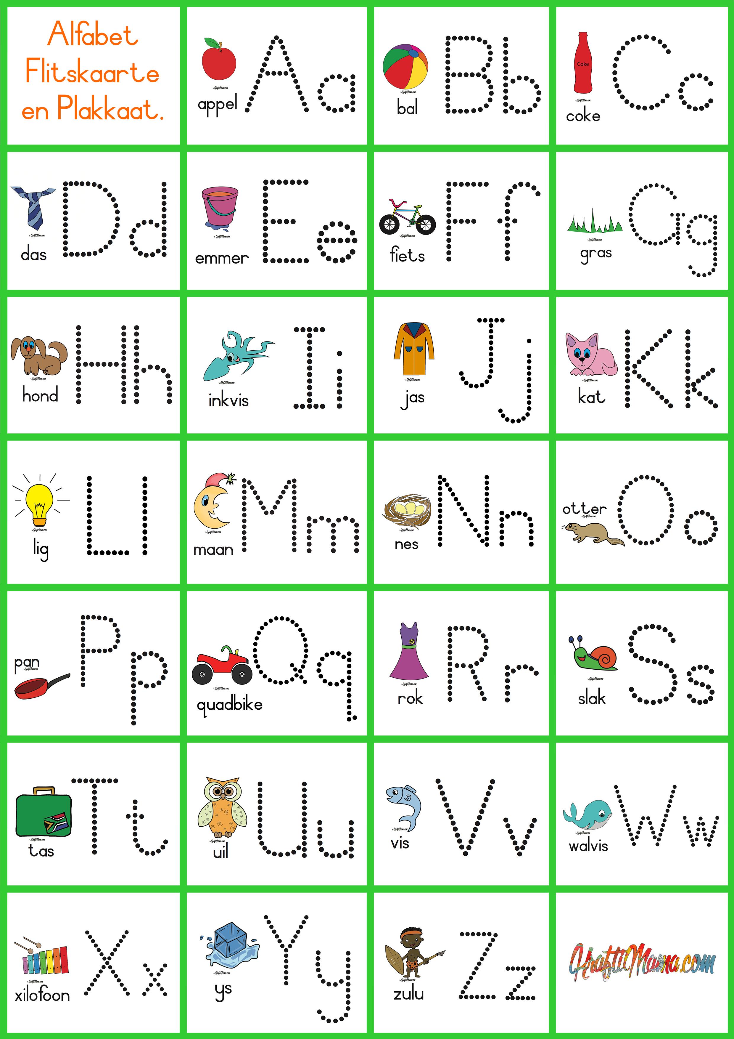 Alfabet Flitskaarte Verniet Kraftimama