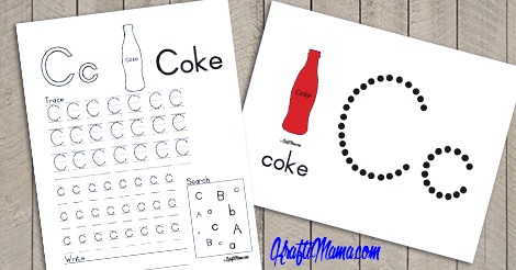 Alphabet Printable C for Coke Free