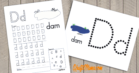 Alphabet Printable Free D for Dam