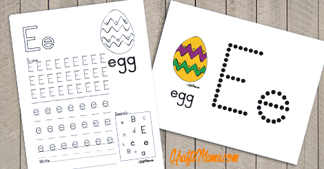 KraftiMama Free Printables, Alphabet, E for Egg