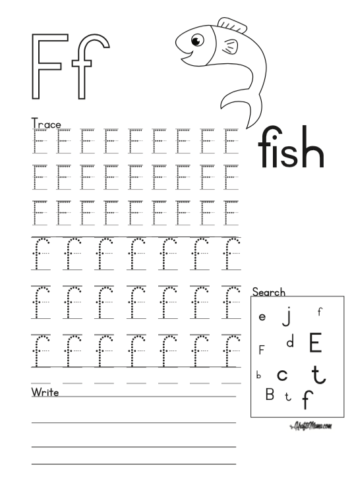 KraftiMama Free Printables, Alphabet, F for Fish