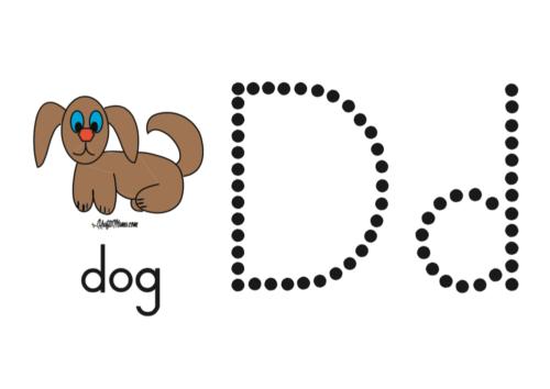 KraftiMama Free Printables, Alphabet, D for Dog