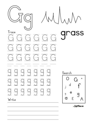 KraftiMama Free Printables, Alphabet, G for Grass