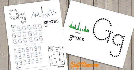 KraftiMama Free Printables, Alphabet, G for Grass