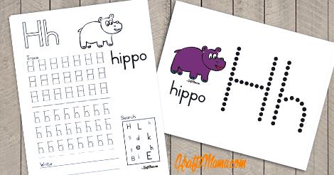 KraftiMama Free Printables, Alphabet, H for Hippo