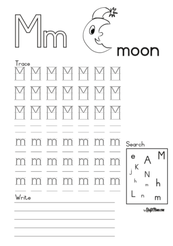 KraftiMama Free Printables, Alphabet, M for Moon
