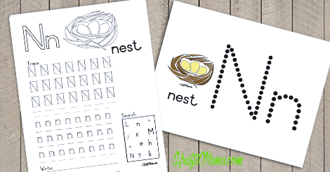 KraftiMama Free Printables, Alphabet, N for Nest