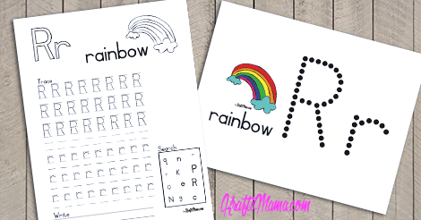 KraftiMama Free Printables, Alphabet, R for Rainbow