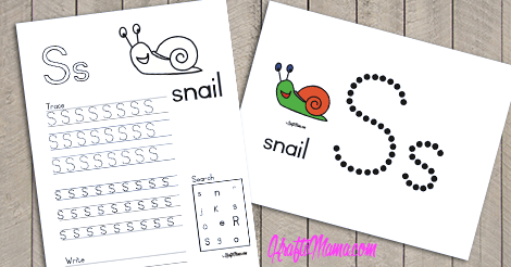 Alphabet Printable S for Snail FREE!