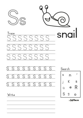 KraftiMama Free Printables, Alphabet, S for Snail