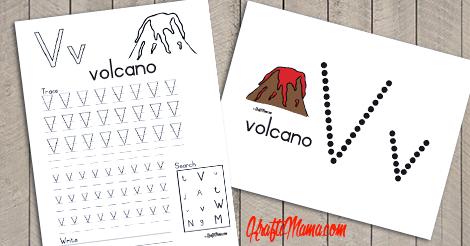 KraftiMama Free Printables, Alphabet, V for Volcano