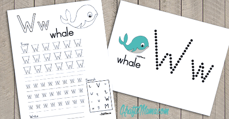 KraftiMama Free Printables, Alphabet, W for Whale