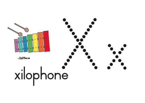KraftiMama Free Printables, Alphabet, X for Xylophone