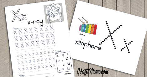 Alphabet Printable X for Xylophone and X-ray FREE!