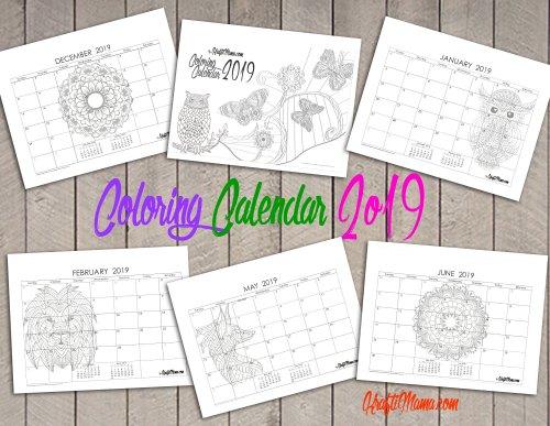 KraftiMama Printables, Coloring Calendar 2019