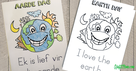 Earth Day Printable in Afrikaans and English