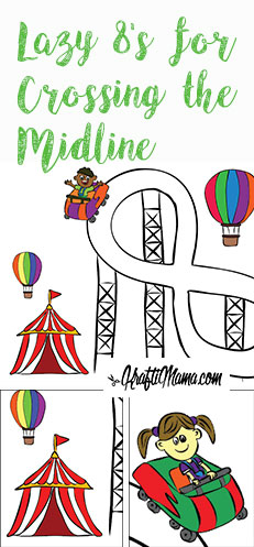 KraftiMama Printables, Figure 8, Lazy 8, Crossing the midline, Educational