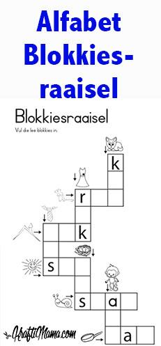 KraftiMama Blokkiesraaisel, alfabet, kleurters, Graad 1