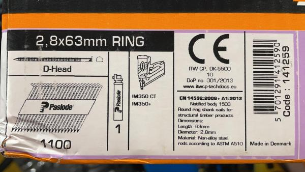 PASLODE 2,8x63mm naglas 141259 2