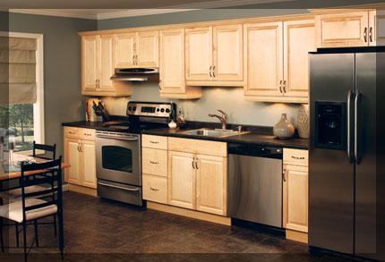 Single Wall Shaped Kitchen KraftMaid Cabinetry