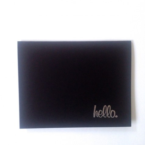 Black 4x6 Card Stock, white ink pigment, silver embossing powder.