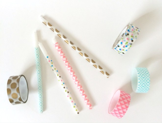 kraft&mint washi tape + tall birthday candles