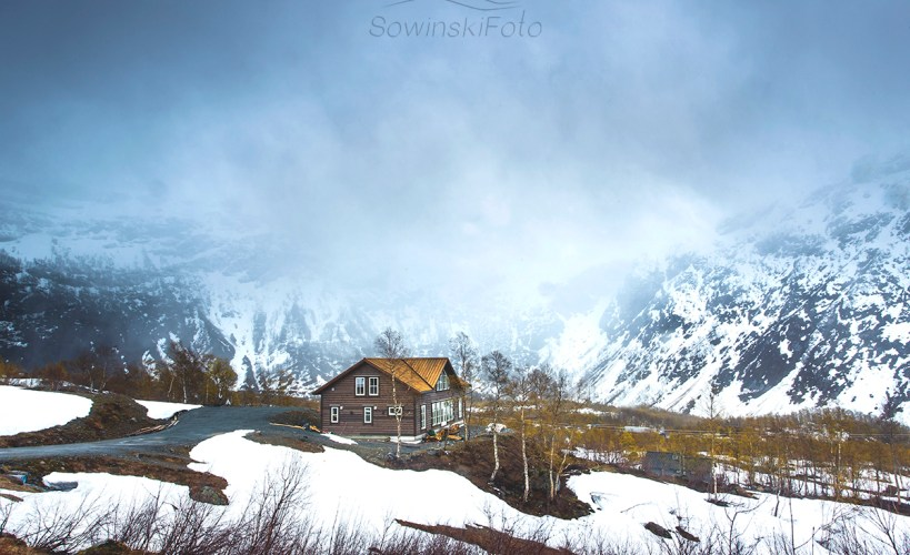 Krajobraz Norwegia domek zdjęcie