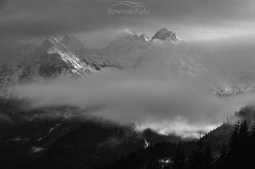 Tatry czarno białe zdjęcie na płótnie