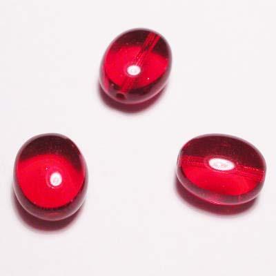 ovaal plat rood transparant 12x10 mm