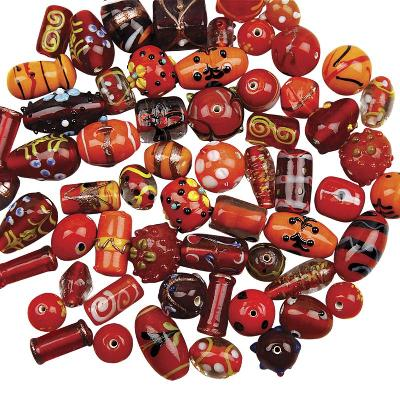 glaskralenmix lampwork orange/rood 12-25 mm