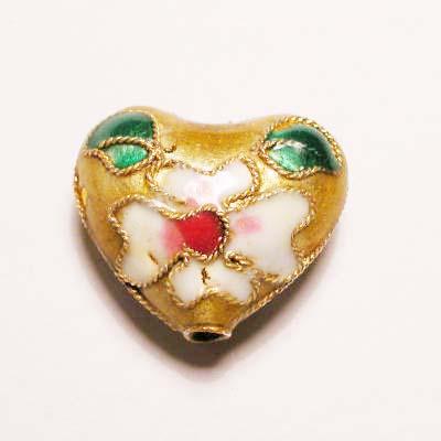 emaille parel bloem hart geel 14 x 17 mm
