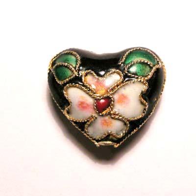 emaille parel bloem hart zwart 14 x 17 mm